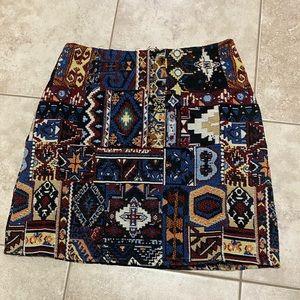 Vintage boho Embroidered mini skirt